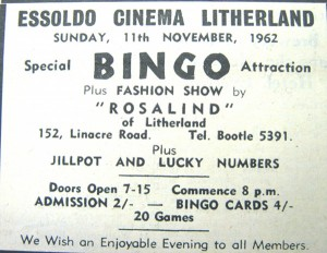 Essoldo bingo and fashion show advert 1962