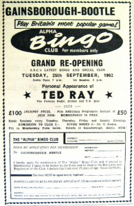 Gainsborough Bingo newspaer advert 1962 web