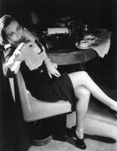 Joan Crawford at Desk