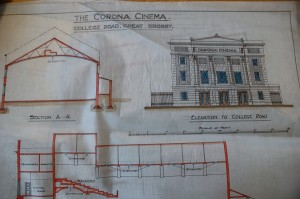 Architectural plans for The Corona Cinema