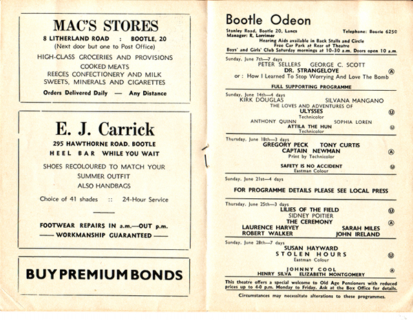 Odeon Bootle June 1963 Prog inside web