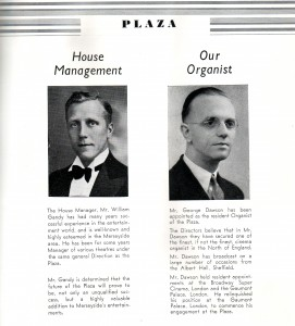 manager and organist From souvienir brochure 1939